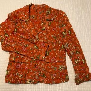 Johnny Was multi-colored orange embroidered jacket